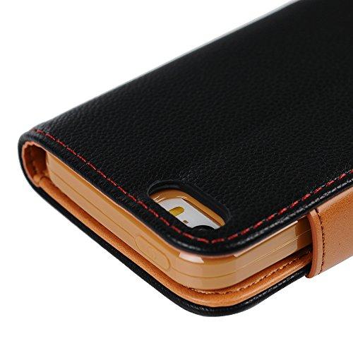 Mavis's Diary Étui iPhone 5/iPhone 5S/iPhone SE Coque en Cuir Bleu Housse Portefeuille Fente de Carte Étui à Rabat Flip Phone Case Cover+Stylet+Bouchon Anti-poussière+Chiffon noir