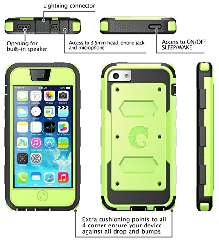 i-Blason Armorbox for Apple iPhone 5C Dual Layer Hybrid Protective Case with Built-in Screen Protector and Impact Resistant Bumpers (Black) grün