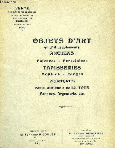 CATALOGUE - FAIENCES - PORCELAINES - OBJETS DE VITRINE - PETITS MEUBLES par RIGOULET FERNAND - DESCAMPS ERNEST