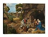 Bild auf Leinwand mit Holzrahmen Gemälde The Adoration of the Altholz 70x50 CM