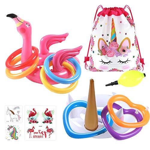 VAMEI 2 Stück Wurfspiel Aufblasbar Flamingo Einhorn Hut mit 12stk Ring Toss Party Zubehör Ringwurfspiel Partyhüte für Kinder Erwachsene Pool Spielzeug