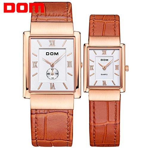 Sheli migliori regali di nozze di oro rosa quadrato in vera pelle orologio per donna e uomo lovers - 22 Pelle Mm Brown
