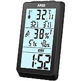 AMIR Thermo-Hygrometer, Digital Innen Thermometer Hygrometer, Hygrometer Luftfeuchtigkeit, Raumthermometer mit Großem LCD-Bildschirm, Hintergrundbeleuchtung, MIN/MAX Records, Trends für Zuhause, Büro