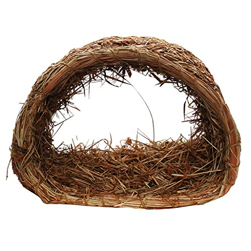 Baoblaze Haustier Spielen Tunnel Hamster Tunnel Eichhörnchen Nest Bett Haus aus gras