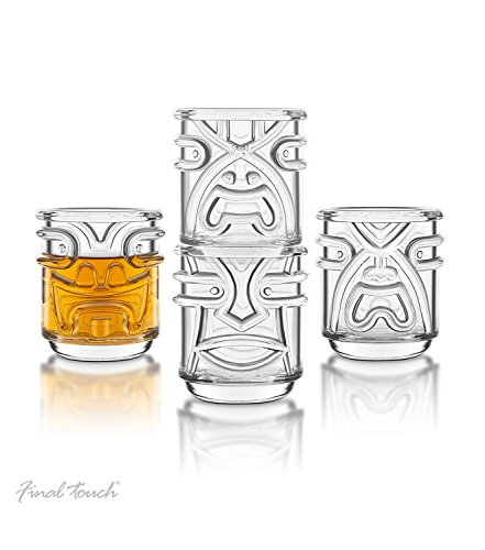 Final-Touch-Tiki-de-vasos-potable-gafas-claro-355-ml-Pack-de-4-diseo-de-hawaiano--tk5303