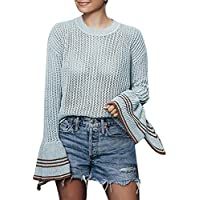 Hanomes Damen pullover, Frauen Solid Long Flare Ärmel Farbverlauf Fringe Cardigan Tops Pullover Mantel preisvergleich bei billige-tabletten.eu