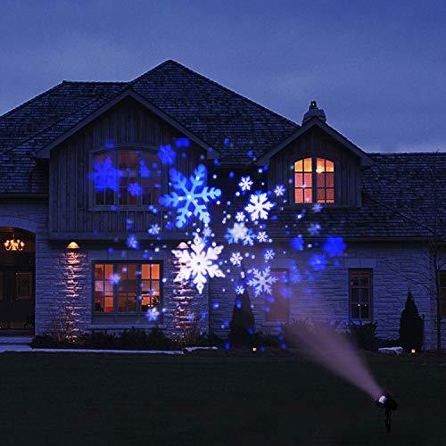 EAMBRITE Schneeflocke Projektor Licht LED Weiß/Blau Rotierende Schneefall Landschaft Projektion Dekorative Weihnachtsbeleuchtung mit Timer für Geburtstag Hochzeit Thema Party Garten Haus