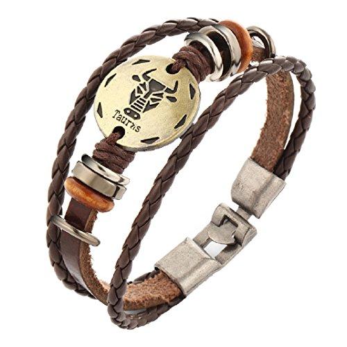 Axibi Elegant Retro Damen Herren 12 Konstellationen Gewebt Wulstig Leder Armband Schmuck Geschenk (Taurus) (Taurus Leder)