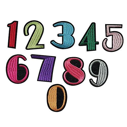 ZHOUBA - Parche bordado números 0-9 planchar coser