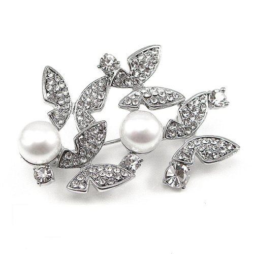 Glamorousky Elegant Butterfly Brooch with Silver Austrian Element Crystal and Fashion Pearl (406)