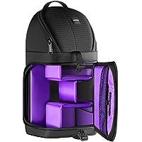 Neewer profesional Bolsa de cámara almacenamiento Durable resistente al agua y prueba del rasgón negro mochila maletín para cámara DSLR, lente y accesorios NW-XJB02S (Morado y negro)