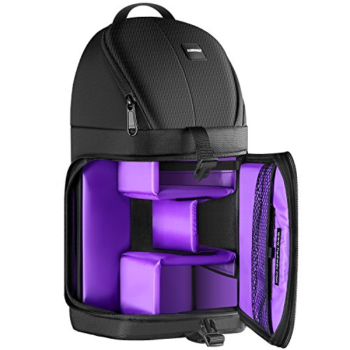 Neewer® Professional Sling Camera Storage Bag Durable Waterproof and Tear Proof Black Carrying Backpack Case for DSLR Camera, Lens & Accessories NW-XJB02S (Purple Interior)