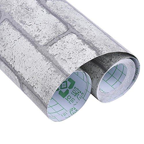 Neue lebensechte selbstklebende Wandtapete!Moderne PVC Stein Optik Naturstein Mustertapete für wohnzimmer schlafzimmer küche od. Jugendzimmer Kinderzimmer (45 * 1000 CM)/ retro graues Ziegelsteinmuster