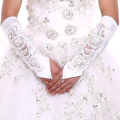 zormey DIY Perlen und Strass mit Ellenbogen Länge Weiß Satin Braut Handschuhe Fingerlose Handschuh flowerslace Party Abend Hochzeit Handschuhe (Spandex Elbow)