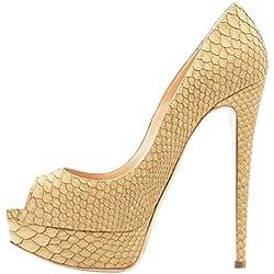 Lutalica - Zapatos de Punta Abierta de Charol Mujer, Color Beige, Talla 43 EU