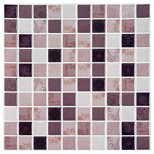 ART-ECO Ecoart Adesivi Piastrelle Muro 3D Mattonelle Auto-Adesivo Decorativo Gel Rivestimento Parete Cucina Bagno Mosaico (Multi Terra)