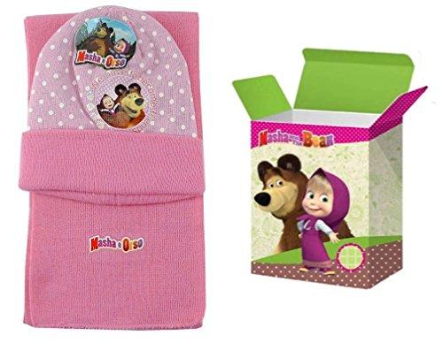 MASHA E ORSO Set Inverno 2pz. Cappello cuffia + Sciarpa bambina Taglia Unica - Rosa