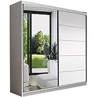 E-MEUBLES Armoire de Chambre avec 2 Portes coulissantes | Penderie (Tringle) avec étagères (LxHxP): 150x200x61 LARA05…