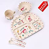 EZ Life 5 Pcs Kids Rectangle Dining Set - Happy Everyday - Eco Friendly Bamboo Fibre - Multicolor - Extra Discount Offer
