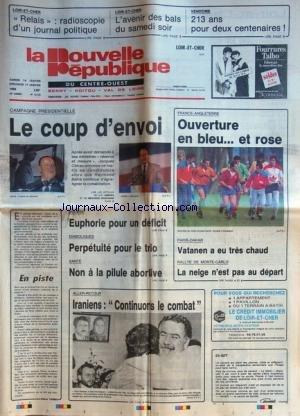 NOUVELLE REPUBLIQUE (LA) [No 13155] du 16/01/1988 - CAMPAGNE PRESIDENTIELLE - LE COUP D'ENVOI - DIABOLIQUES / PERPETUITE POUR LE TRIO - NON A LA PILULE ABORTIVE - EN PISTE PAR TARIBO - IRANIENS - CONTINUONS LE COMBAT - LES SPORTS - RALLYE DE MONTE-CARLO - PARIS-DAKAR