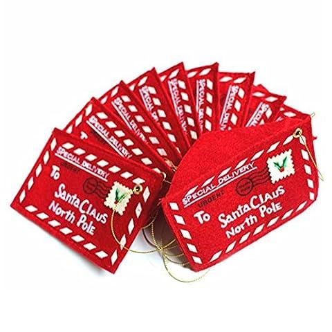 10 Stück Da.Wa Brief an Weihnachtsmann Rote Filz Umschlag Mail Stickerei Karte Süßigkeit Tasche Weihnachtsbaum Hängen Ornament Dekor Geschenk