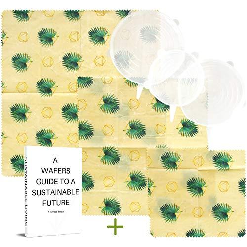 WAFE Envolturas de Cera de Abeja (3 Juegos) - Almacenamiento de desechos Cero Reutilizable   Envolturas de Cera para Alimentos   Alternativa ecológica a Clingfilm   Tapas de Silicona Gratis