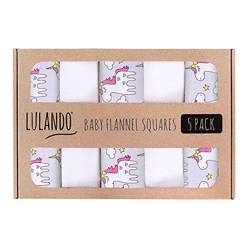 LULANDO Stoffwindeln und Moltontücher 70x80cm (5er Set). Waschbare Windeln und Spucktücher für Ihr Baby. Farbe: Unicorn/Grau