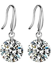 Mahi White Rhodium Plated Crystal Dangle & Drop Earrings For Women