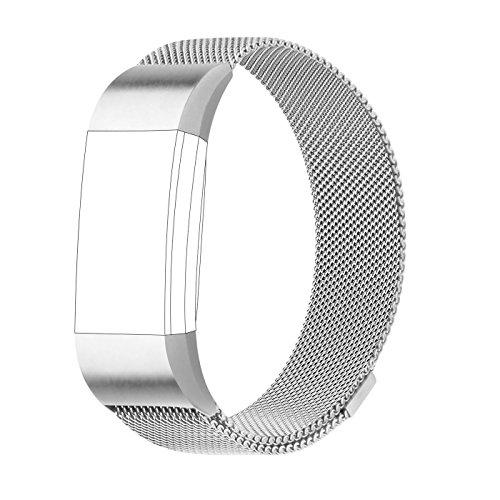 Armband für Fitbit Charge 2, Milanese Edelstahl Ersatzarmband Smart Watch Armbänder für Fitbit Charge 2
