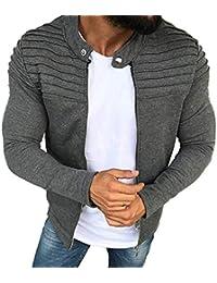 Otoño Invierno Hombres Color Sólido Rayado Panel Plisado Cardigan Zip Chaqueta Plisados Slim Stripe Fit Raglan Zipper de Manga Larga Top Coat M-3XL