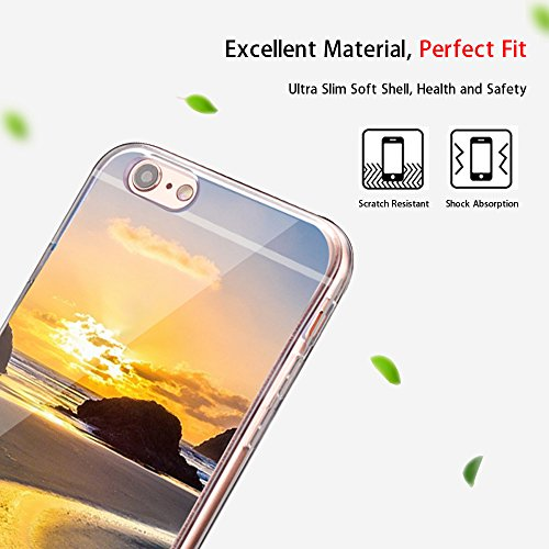 "iPhone 6s Handytasche, für iPhone 6 CLTPY Ultradünn Durchsichtig Original TPU Schale Etui, Kreativ Landschaft Muster Full Body Cover Case für 4.7"" Apple iPhone 6/6s + 1 x Freier Stylus - Meer Short Schotterpiste"