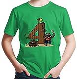 HARIZ  Jungen T-Shirt Pirat Schatz 4 Geburtstag Geschenk Plus Geschenkkarte Grün 116/5-6 Jahre