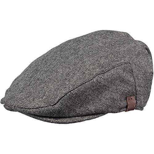 Barts Mens Dayton Wool Blend Adjustable Newsboy Flat Cap Satin Wool Cap