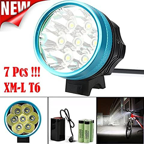 Bicycle Light, TopTen 7x T6 LED 7000 Lumens 3 Modes Ultra Bright Bike LED Headlamp Head Flashlight with Rechargeable Battery and
