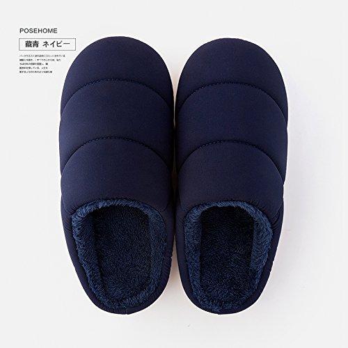 Coppie fankou home cotone femmina pantofole home indoor giovane caldo scarpe antiscivolo pantofole genitore maschio di inverno Schwarz