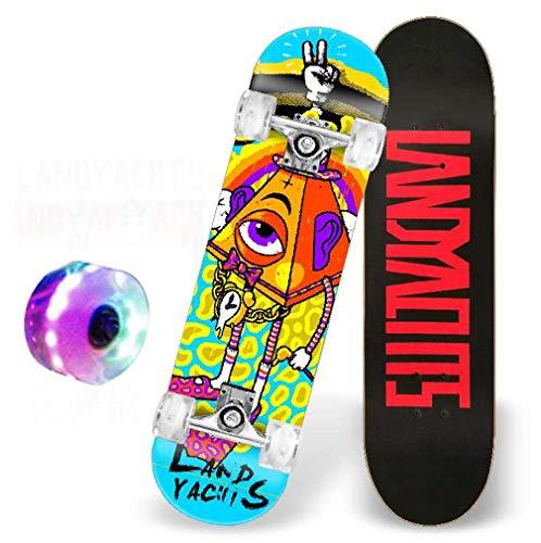SWORDlimit Skateboards für Jugendliche Erwachsene Anfänger Kinder, Komplett Skateboard 31 x 7,88, 9-lagiges Ahorndeck Double Kick Concave Standard und Tricks Skateboards,I