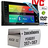 Peugeot 207 307 - JVC KW-V320BTE - CD DVD Bluetooth MP3 USB 6,8-Zoll Display Autoradio - Einbauset