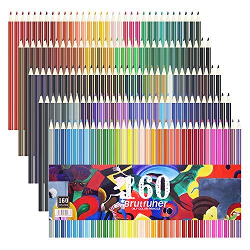 Laconile Matite colorate oleose dai colori vivaci, 160, già temperate, set per libri da colorare, disegno, schizzi e attività manuali, 160 pezzi