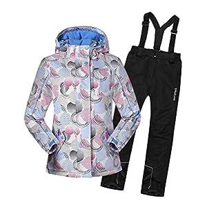 OMSLIFE Jungen Mädchen Kinder Skianzug Skijacke Regenlatzhose Verdickung Skianzüge Klein Kinder Schneeanzug Wasserdicht Lang Jacket Wintermantel Mantel Skianzug