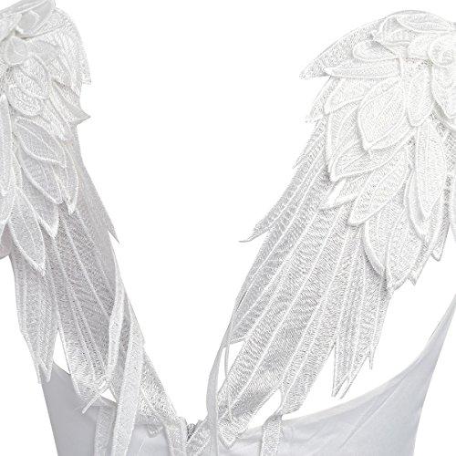 Tiaobug Damen Sommer Kleid Minikleid Tunika Bluse Strandkleid Beilaeufiges Kleid Kurz Freizeit Kleider A - Wei