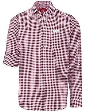 Edelheiss Moser Trachten Trachtenhemd Langarm Dunkelrot Karo Robby 005114, Material Baumwolle, Liegekragen