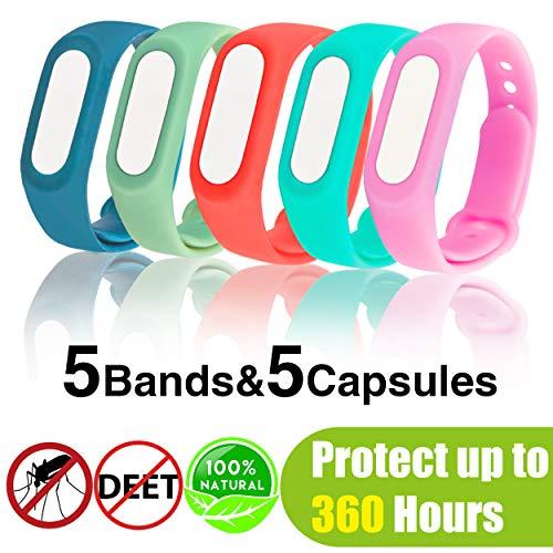 (5 Stück) Mückenschutz Armband, Anti Mosquito Bracelet Reusable Repellent Wristband Armband natürlichen Öl Sicheres Deef-Freies und Wasserdichtes Insektenschutz-Armband für Camping, Jogging, Wandern