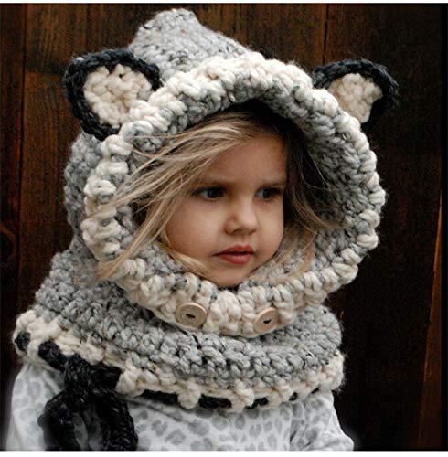 HAOLIEQUAN Kawaii Baby Cappelli in maglia con sciarpa Winter Set antivento  Bambini Ragazzi Ragazze Warm Caps 59ab8f6c52bd