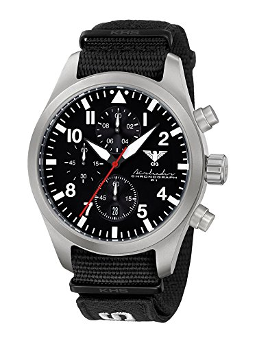 Airleader Steel Chronograph KHS Airsc. NXT7 KHS Tactical Watch, Clock, Stainless Steel, Nato Strap Xtac Black Military Watch, Aviator Watch
