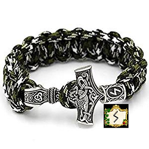 Sowilo Rune - Militär Paracord Armband Buntes Grün camouflage Outdoor - Viking Wikinger Thor Hammer Antik Silber -100% Handarbeit -25 cm Umfang Nr.3 (T-shirt Gold-grünes)