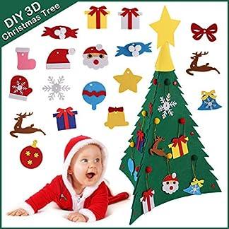 Satkago DIY 3D Conjunto de árbol de Navidad de fieltro , árbol de Navidad con 18 piezas Adornos colgantes Estrella de copa para niños Regalos de Año Nuevo Decoración de la puerta Decoración del hogar