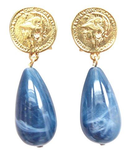 Vergoldete Clip-Ohrstecker Ohrringe sehr groß Münze Anhänger blau marmoriert tropfen-förmig Statement Fashion Designer ()