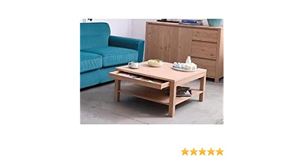 Keo nano table basse carrée tablette tiroir bois naturel x