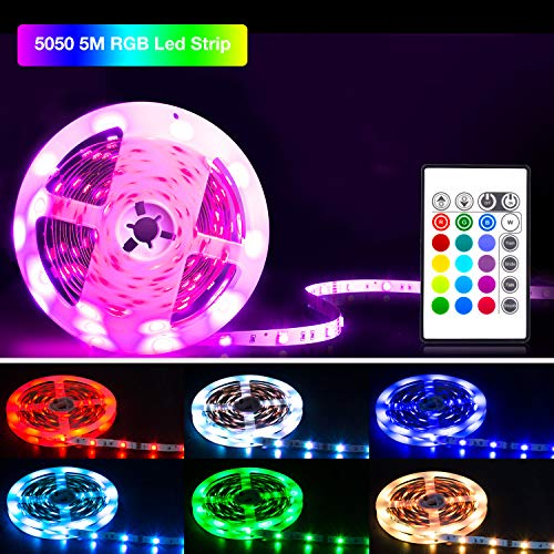 Led Strip 5M,SHINELINE Led Lichtband Led Band SMD5050 RGB Led Strip mit Fernbedienung und Netzteil,Led Beleuchtung.