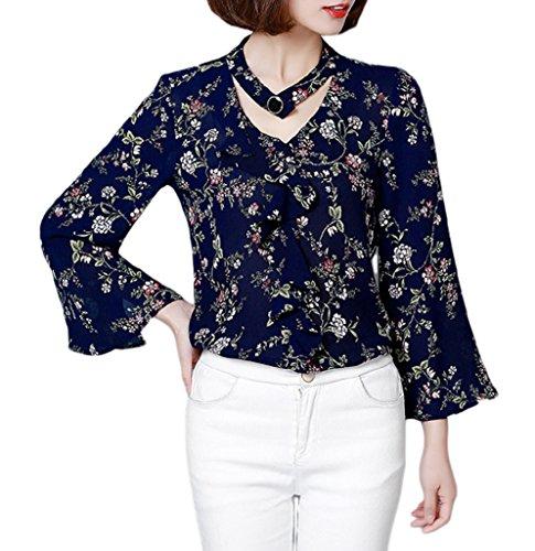 Smile YKK Blouse Col V Femme Mousseline de Soie Chemise T-shirt Top Manche Evasée Eté Mode Bleu